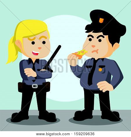 fat police officer with woman police officer