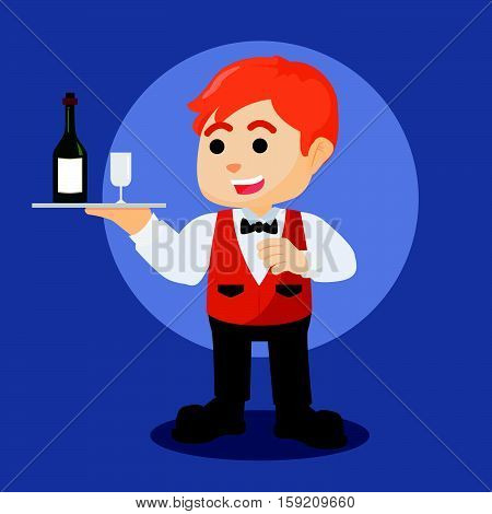 waiter with wine bottle and wineglass illustration design