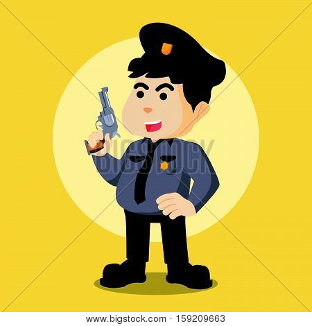 police holding a gun eps10 vector illustration design