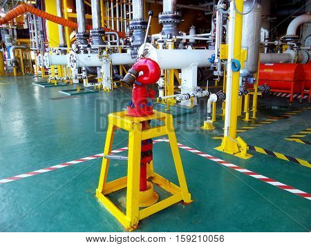 Fire hydrant station at oil and gas central processing platform located at risk area for in case of fire or firef ighting