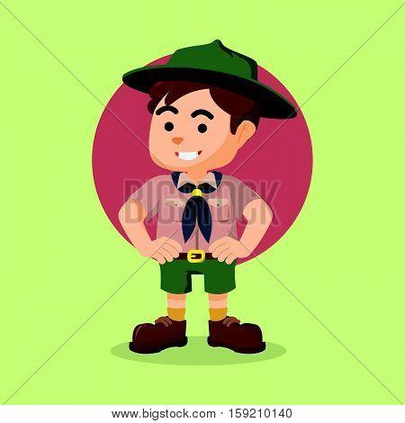 boy scout cartoon eps10 vector illustration design