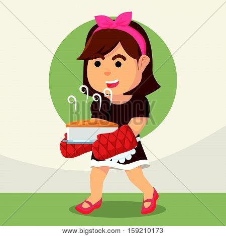 housewife holding baked cake eps10 vector illustration design