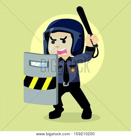 police officer holding riot with shield illustration design