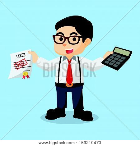 accountant holding calculator and paid taxes illustration design