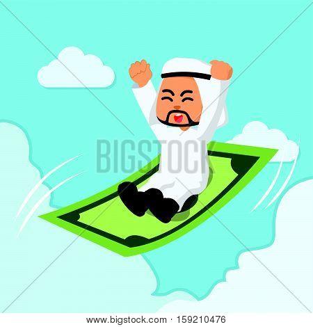 arab businessman ride a flying money illustration design