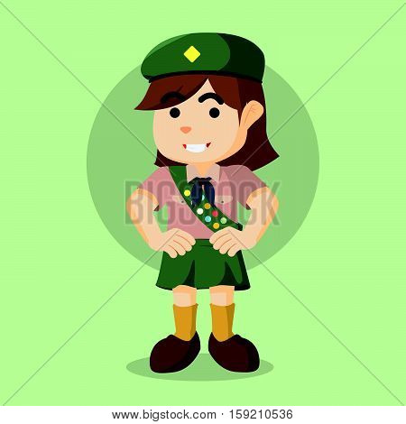 scout girl cartoon eps10 vector illustration design