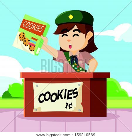scout girl selling cookies eps10 vector illustration design