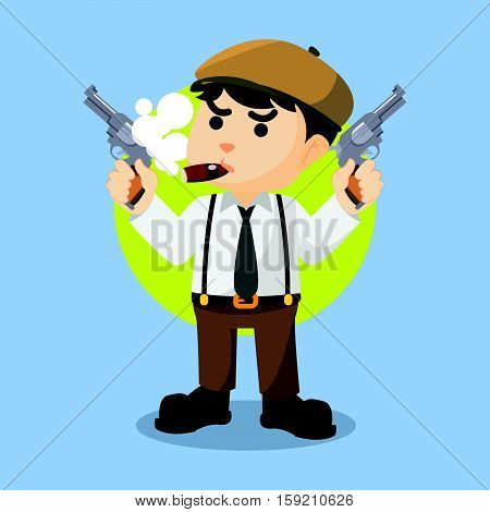 mafia guy holding two gun illustration design