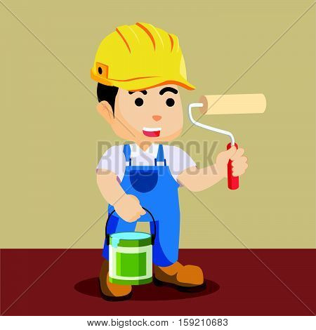 painter holds roller bucket eps10 vector illustration design