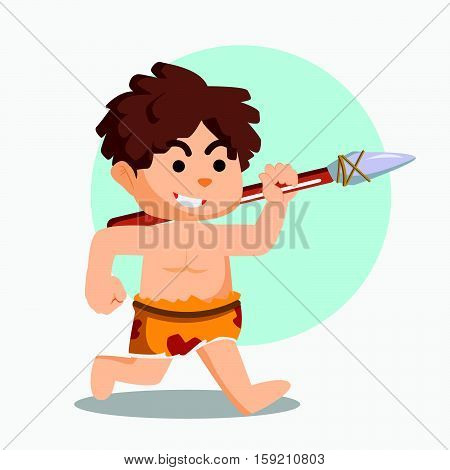 caveman running with stone spear illustration design
