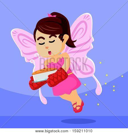fairy girl flying carrying cake illustration design