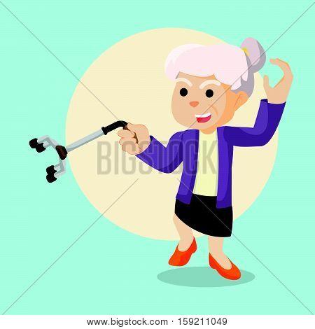 old woman kung fu eps10 vector illustration design