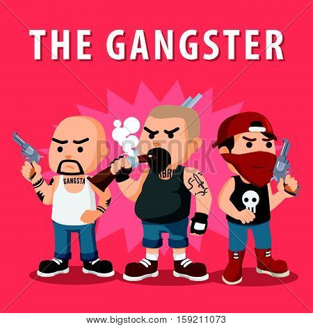 gangster member logo eps10 vector illustration design