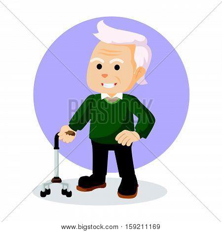 old man holding walking stick illustration design