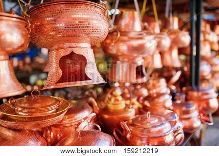 Traditional Chinese Handmade Utensils. Focus On Copper Hot Pot