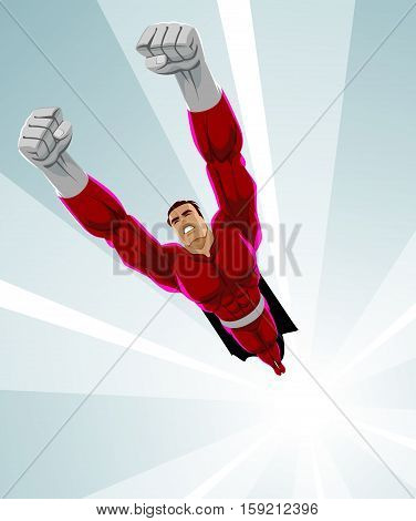 Superhero flying up. Power and pride. Vector illustration