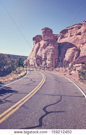 Retro Toned Scenic Road, Travel Concept Background, Colorado, Usa