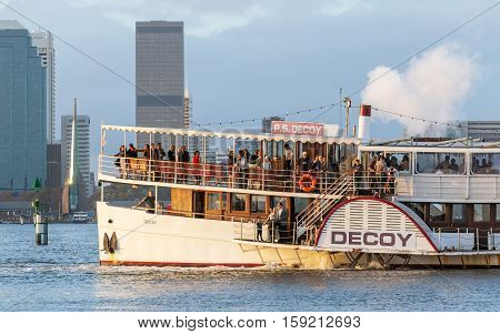PERTH AUSTRALIA - MAY 15 2016: The paddle steamer Decoy cruising on the Swan River in Perth, Western Australia. It is believed to be the only paddle steamer in Western Australia and the only seagoing paddle steamer in the southern hemisphere.