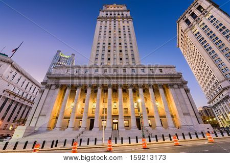 United States Court House in the Civic Center district of New York City.