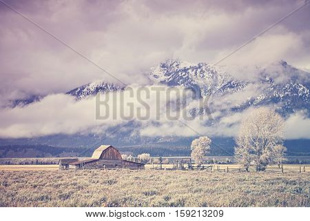 Retro Toned Moulton Barn In The Grand Teton National Park, Wyoming, Usa.