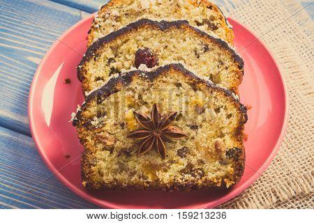 Vintage Photo, Fresh Baked Fruitcake On Plate On Blue Boards