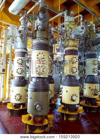 Aligned x-mass tree, Control valve for oil and gas production process, Petroleum construction on offshore wellhead platform, Energy and petroleum industry, Oil and gas or petroleum is major of world