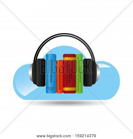 cloud music concept audio books graphic vector illustration eps 10