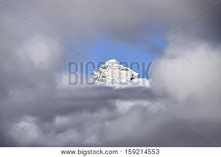 Grand Teton Peak In Cloud Frame, Wyoming, Usa