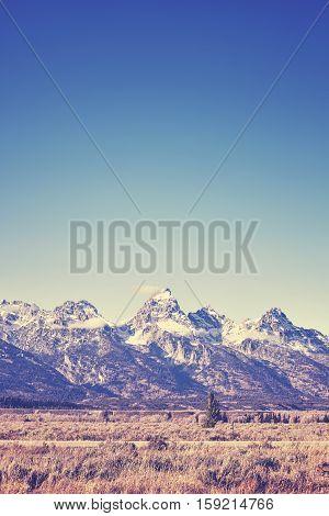 Vintage Toned View Of Grand Teton Mountain Range, Wyoming, Usa