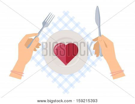 Female hands with steel fork and knife ceramic plate with red jelly heart on a table napkin. Flat vector illustration of restaurant kitchen utensils. Concept of Valentine's day masher lady-killer.