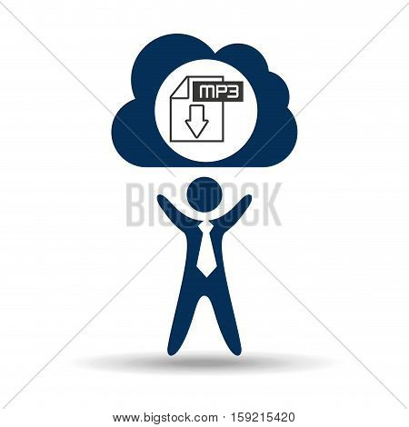 music design silhouette man and file mp3 vector illustration eps 10