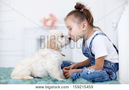 Little girl,brunette hair,tied with pink bands into two tails,dressed in a white t-shirt and blue denim overalls is playing at home,sitting alone on the bed with their favorite dog breed Golden Retriever
