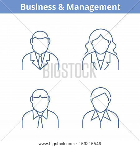 Occupations avatar set: businessman businesswoman consultant manager. Flat line professions userpic collection. Vector thin outline icons for profiles web design social networks and infographics.