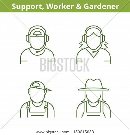 Occupations avatar set: support operator workman gardener. Flat line professions userpic collection. Vector thin outline icons for profiles web design social networks and infographics.