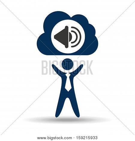 music design silhouette man and speaker vector illustration eps 10