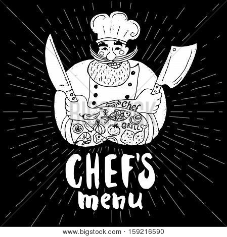 Chefs menu logo Chalkboard, background Chef, male, beard, mustache, knife, smile, cleavers, chefs hat, light rays Hand drawn vector illustration