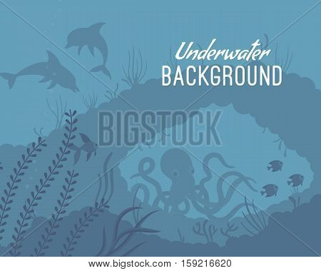 Underwater background shallow, clear and agitated water, exploring the world oceans, help protect. Cartoon flat-style graphic template with copyspace