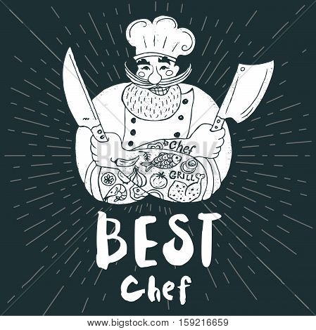 Best chef logo Chalkboard, background Chef, male, beard, mustache, knife, smile, cleavers, chefs hat, light rays Hand drawn vector illustration