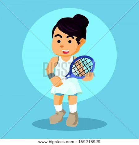 female tennis player colorful eps10 vector illustration design