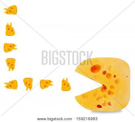 funny game hero eats cheese slices. funny cheesy concept. Isolated over white background.