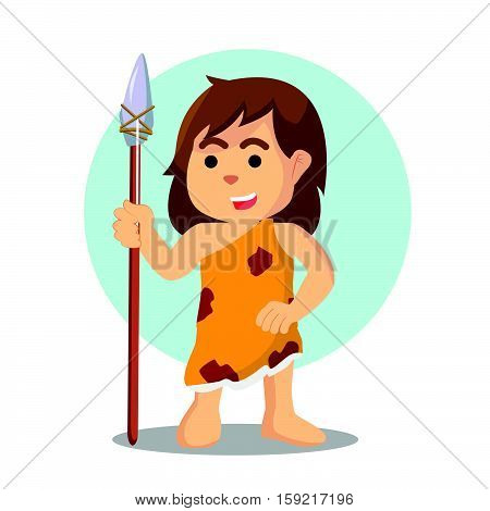 cave woman holding spear stone illustration design