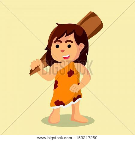 cave woman carrying a big clubs illustration design
