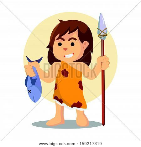cave woman holding wood spear and fish