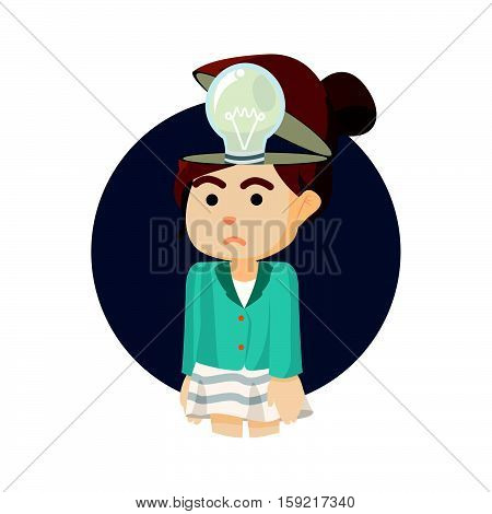 businesswoman with non functional bulb head illustration design