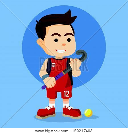 field hockey player eps10 vector illustration design