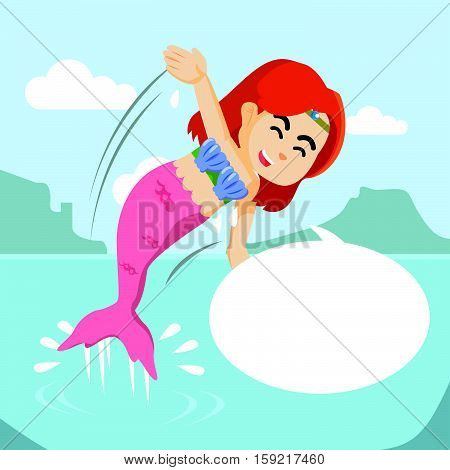 mermaid girl jump out from water with callout