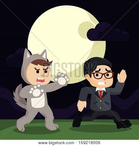 werewolf chasing down guys eps10 vector illustration design
