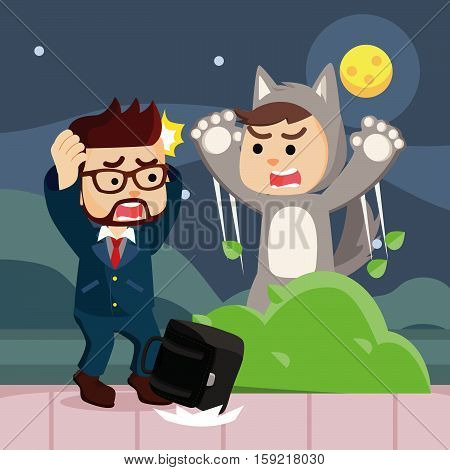 werewolf suprising people colorful eps10 vector illustration design