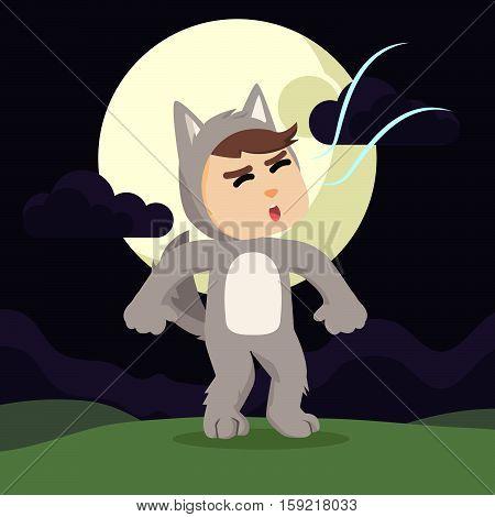 werewolf guy howling in night illustration design