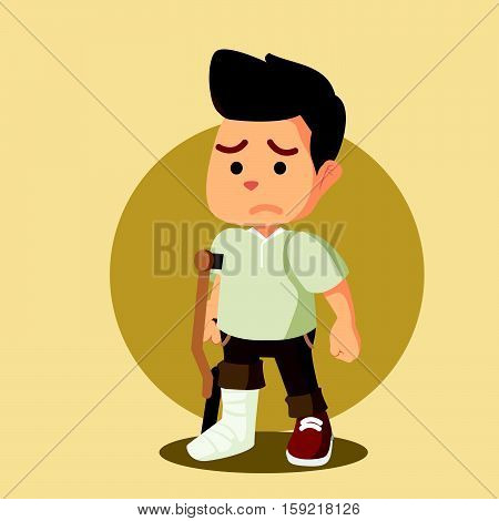 man sad with broken leg illustration design